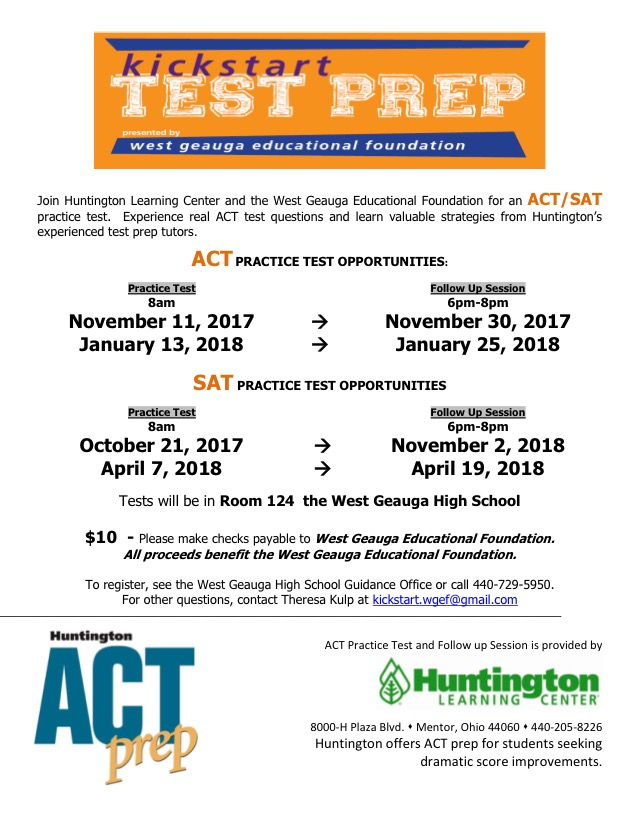 SAT PSAT ACT practice tests Cleveland suburbs West Geauga – West